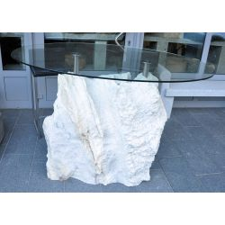 Table made of marble with oval glass top, no. 1711