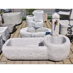 Fountain with 2 basin in rose granite with stone column, no. 1757