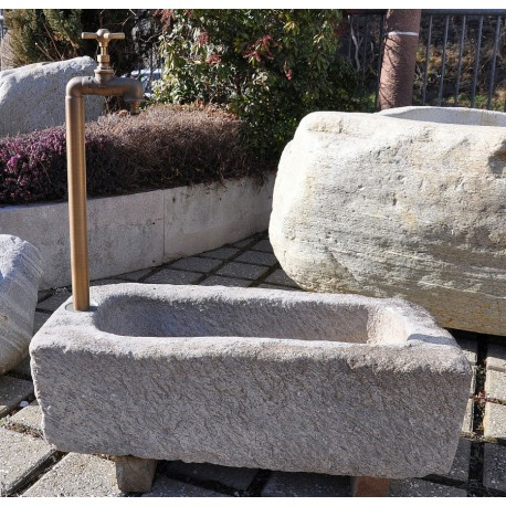 Old feeding trough made of granite (repaired), no. 2080