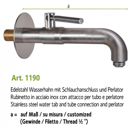 Water tap in stainless steel, art. 1190