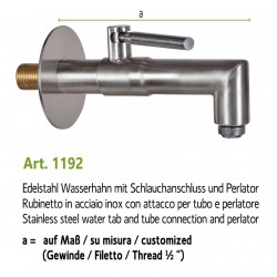 Water tap in stainless steel, art. 1192