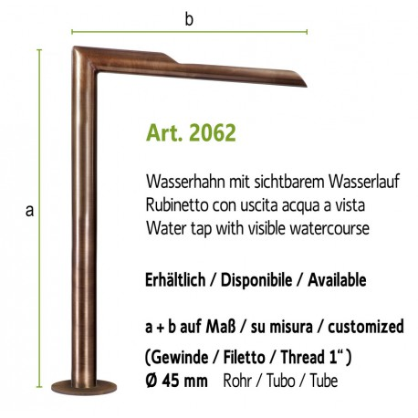 """Water tap with visible watercourse and 1"""" internal thread, art. 2062"""