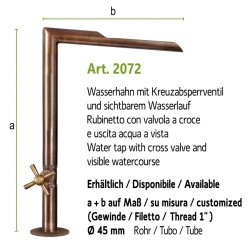 "Water tap with visible watercourse and cross valve and 1"" internal thread, art. 2072"