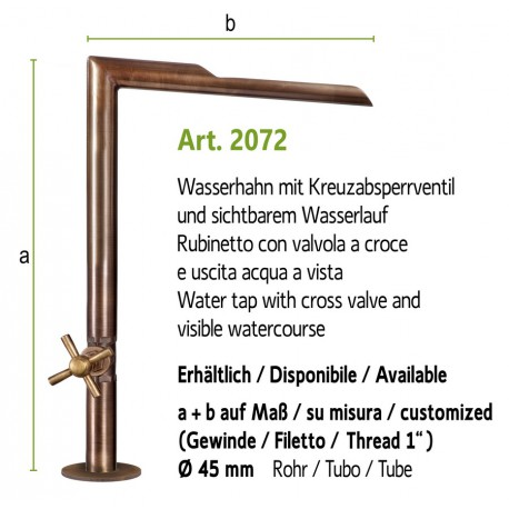 """Water tap with visible watercourse and cross valve and 1"""" internal thread, art. 2072"""