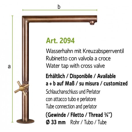 Water tap with cross plug