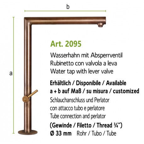 """Water tap with lever valve and inside thread 3/4"""",  art. 2093"""