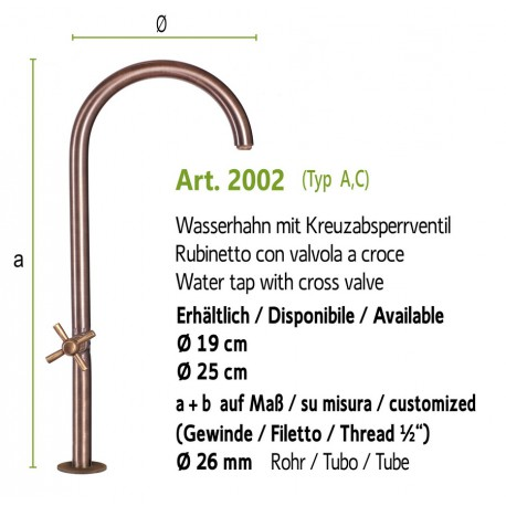 """Water tap without shut-off valve with inside thread 1/2"""", art. 2001"""