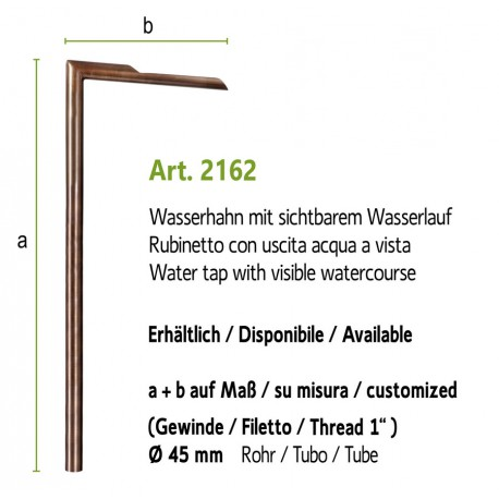 Water tap, art. 2162 (installation on the ground, fountain wall with art. 4012a) Extension art. 2062