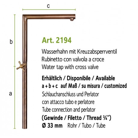 Water tap art. 2194 (installation on the ground, fountain wall with art. 4010a)