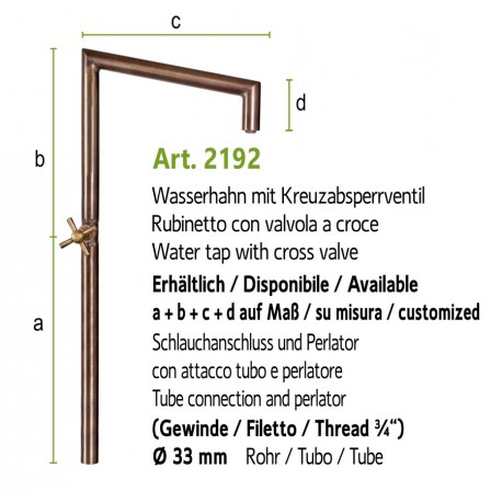 Water tap art. 2191 (installation on the ground, fountain wall with art. 4010a)