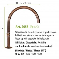 """Water tap with cross valve and inside thread 1 1/4"""", art. 2055"""
