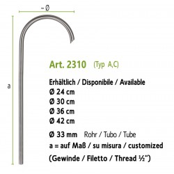 Stainless steel water tap, art. 2310 (installation on the ground, fountain wall with art. 4010b)