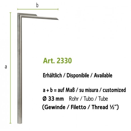 Water tap in stainless steel, art. 2330