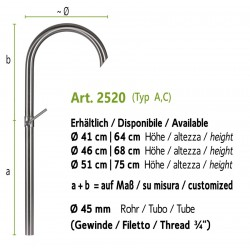 Stainless steel water tap, art. 2520 (installation on the ground, fountain wall with art. 4012b)