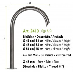 """Stainless steel water tap without lever valve and inside thread 3/4"""", art. 2410"""