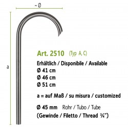 Stainless steel water tap, art. 2510 (installation on the ground, fountain wall with art. 4012b)