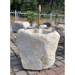 Tall fountain boulder in yellowish granite from St. Martin, no. 2179